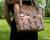 "Hand stittched leather handbag ""Caramel colors"""