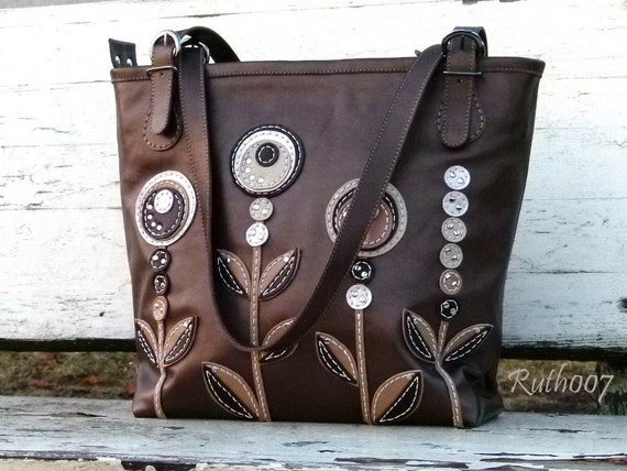 "Hand stittched leather handbag ""Coffee colors"""
