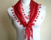 Red Cotton Scarf Headband  Cowl with Lace Edge Women Scarves Spring Fashion