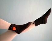 Brown Slipper Socks, Lacing Slippers for Women