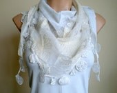 White Scarf Lace Scarf  Wedding Shawl Neckwarmer