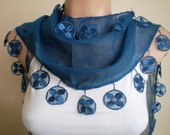Dark Blue Scarf Cotton Scarf Cowl with Lace Edge Flowers Spring Fashion