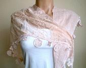 Powder Pale Pink Scarf Lace Scarf Bridal Shawl Shrug Neckwarmer