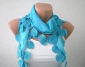 Sea Blue Scarf Cotton Scarf Cowl with Lace Edge Spring Fashion