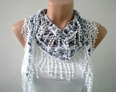 Floral Cotton Scarf in Black and White Lightweight Yemeni Cowl Women Fashion