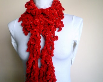Red Frilly Scarf  Women fashion Gift under 25