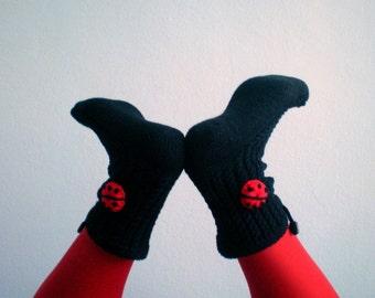 Black Slipper Socks with Ladybugs Women Slippers