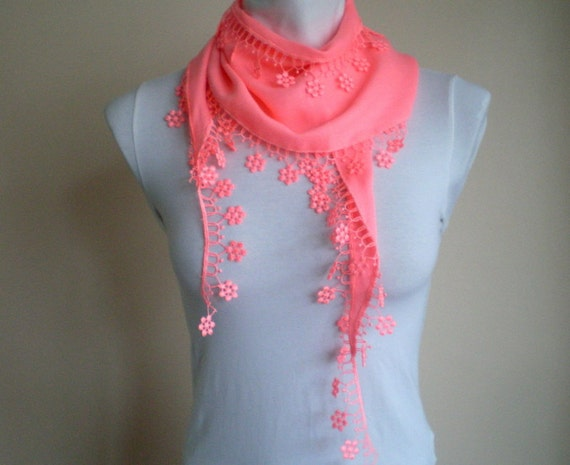 Pink Scarf Pashmina Scarf Cowl with Lace Edge Flowers Neon Scarf Spring Fashion