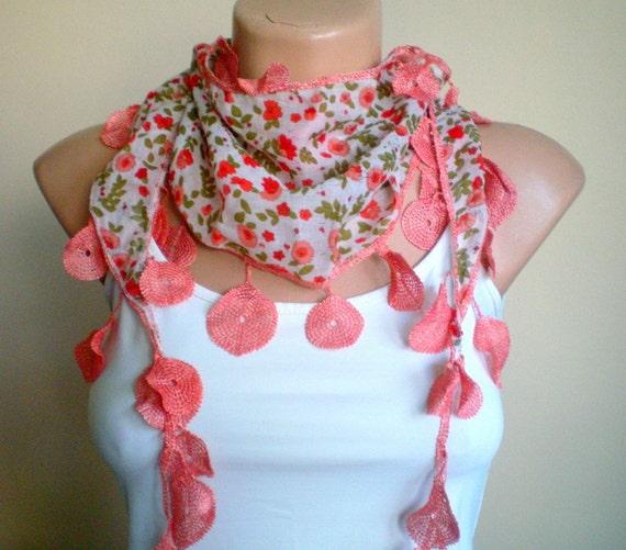 Flowered Salmon Cotton Scarf Lightweight Yemeni Lace Scarflette