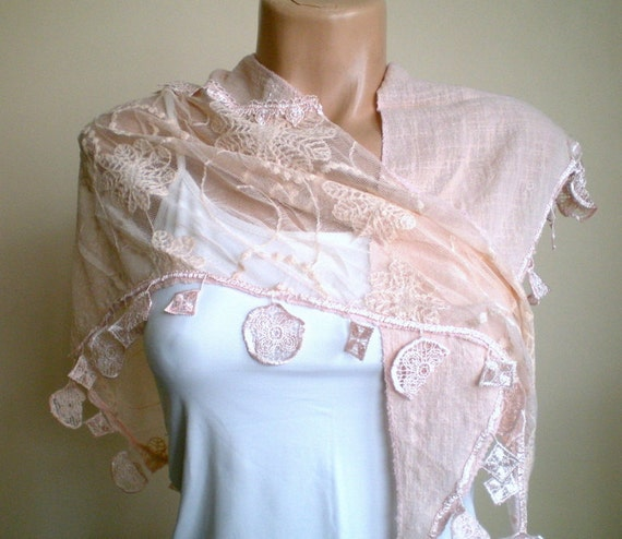 Powder Pale Pink Scarf Lace Scarf Bridal Shawl Shrug Neckwarmer