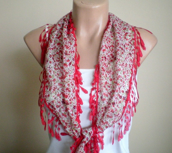 Floral Red Cotton Scarf -Spring Scarf