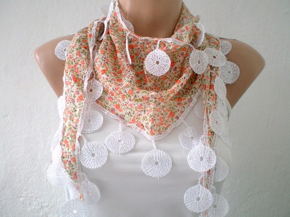 Floral Printed Scarf Pastel Salmon Peach Cotton Scarf Cowl Spring Fashion