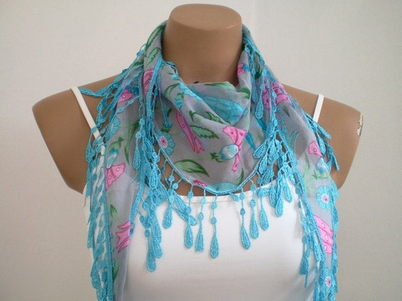 Woman Scarf Cotton Scarf in Blue Gray Lightweight Yemeni Scarflette