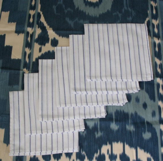 Set of 8 White and Blue Napkins