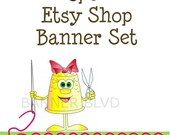 Premade Etsy Shop Banners, Avatars and Placeholders - Cute Sewing Thimble With Hair Bow, Sewing Needle And Thread