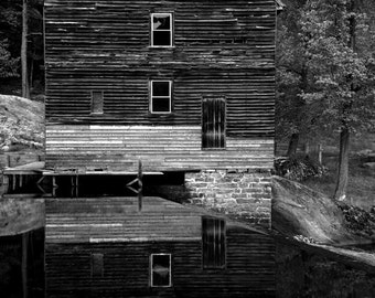 Laurel Mill Reflection - Fine Art Print - Black and White - 8x10