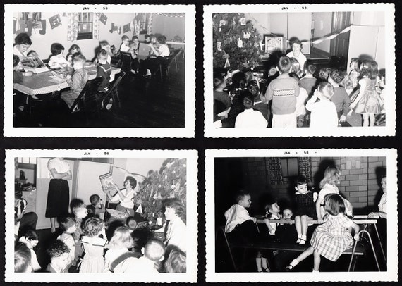 Vintage 1950's Photos Photographs - ELEMENTARY SCHOOL PARTY - Black and White B & W Snapshots ... 8 Total