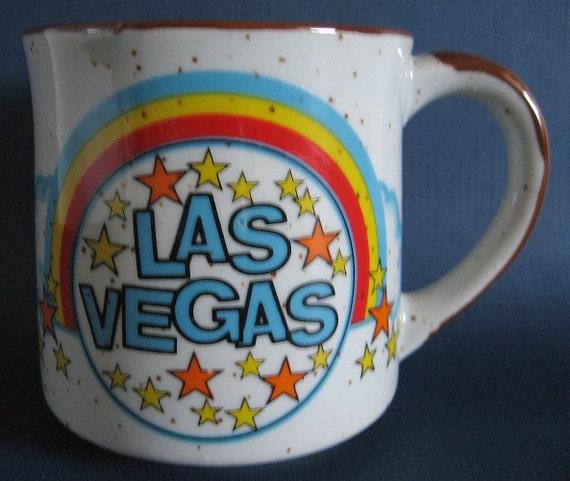 Vintage 1960's LAS VEGAS Souvenir Coffee Mug or Cup - Kitschy Rainbow & Stars Graphics - MIJ