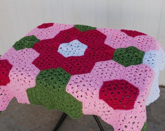 Crocheted PINK Baby flower afghan with  matching beanie & booties
