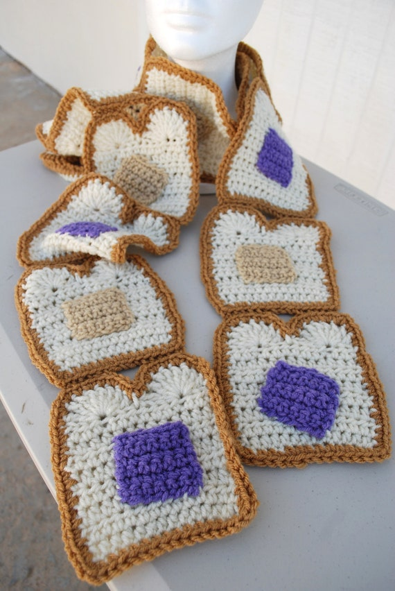 Crocheted Peanut butter & Jelly scarf
