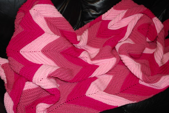 Crocheted Large Ripple Afghan in Pinks