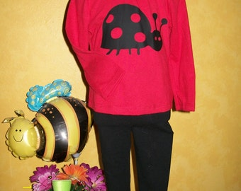 Little Lady Ladybug Top, Leggings, and Hat - Size 18 Months