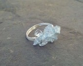Rock Candy Aquamarine and Silver wrapped ring - size 7.5