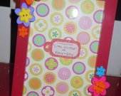 4x6 floral button photo picture frame, one of a kind, hot pink bright and vibrant luau or hawaiian