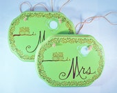 """Wedding Chair Signs, Signage Decor, Mr. Mrs. """"Love Owls"""" Chalkboard Back by Green Orchid Design Studio"""