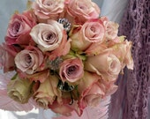 Vintage Chic Rose Bridal Bouquet by Green Orchid Design Studio