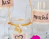 """Wedding Toasting Glasses, Bridal Table Settings """"Just"""""""" Married"""" by Green Orchid Design Studio"""