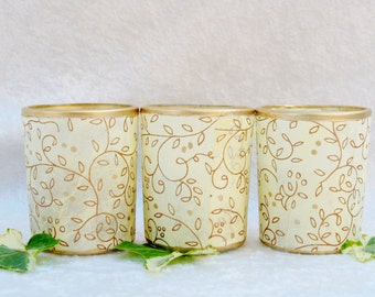 3 Wedding Candles, Lighting, Candle Holders, Votives, Vintage Inspired  by Green Orchid Design Studio