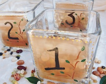 "3 Wedding Candle Holders, Votives, ""Woodland"" Table Numbers, by Green Orchid Design Studio"
