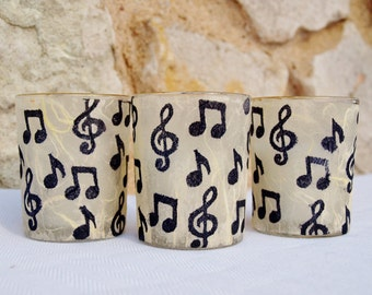 3 Votive Candles, Wedding Lighting, Classical Music Inspired,  by Green Orchid Design Studio