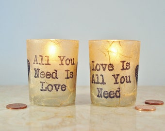 """2 Wedding Candles, """"All You Need is Love"""" Beatles, Rustic Candle Holder, by Green Orchid Design Studio"""