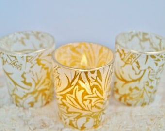 "3 Gold Wedding Candle Holders, Lighting, ""Vintage Inspired"" Votive, by Green Orchid Design Studio"
