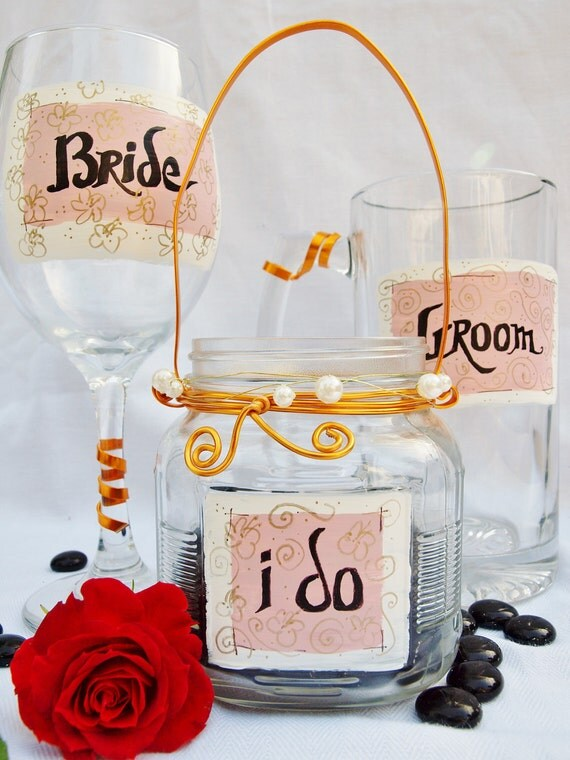 """Wedding Toasting Glasses, Decor, Table Settings,""""Bride"""" and """"Groom""""  by Green Orchid Design Studio"""