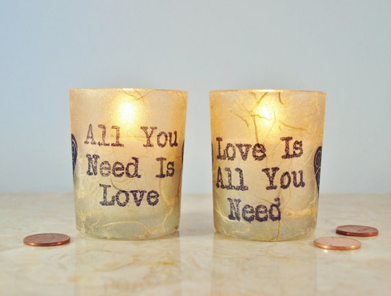 "2 Wedding Candles, ""All You Need is Love"" Beatles, Rustic Candle Holder, by Green Orchid Design Studio"