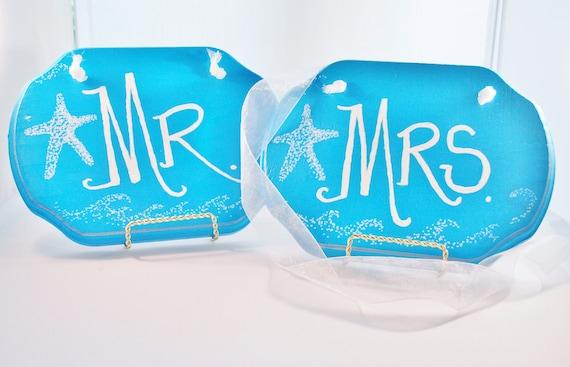 "Wedding Chair Signs, Beach Theme, Mr. Mrs,. Aqua Blue ""Starfish"" Blackboard Back by Green Orchid Design Studio"