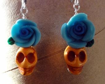 Dia de los Muertos Earrings - Orange Skull w/ Blue Flower