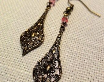 Embossed Brass Drop w/ Pink Mystic Quartz Earrings