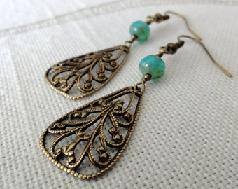 Antique Brass Filigree Drops w/ Aqua Picasso Glass Earrings
