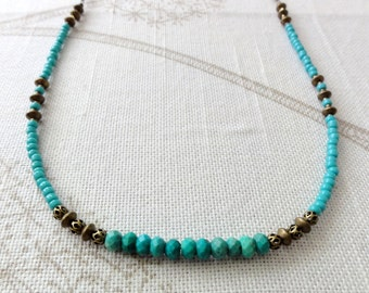 Turquoise and Antique Brass Necklace