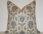 BOTH SIDES - Decorative Pillow Cover / 20 x 20 / Ikat / Gold / Grey / Spa blue / Throw Pillow / Accent Pillow / Toss Pillow
