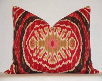Duralee -  Decorative Pillow Cover / Masala Red / Red / Brown / IKAT Design