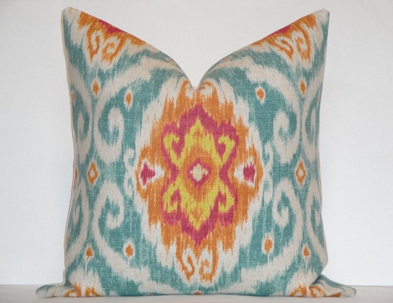 24 x 24 - Decorative Pillow Cover - IKAT -  Iman Home - Turquoise / Orange / Fuchsia / Yellow / Throw Pillow / Accent Pillow / sofa Pillow