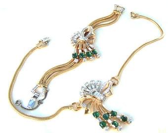 Exquisite Vintage Art Deco Mazer Signed Demi Parure Necklace And Bracelet Emerald and Clear Rhinestones