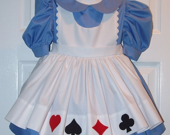 Alice In Wonderland Girl's Size 3-6 Custom Made Costume Dress-Up, Mad Hatter Tea Party, birthday party dress