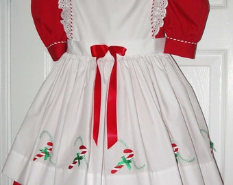 Christmas Candy Girl's Holiday Dress Custom Made Boutique Quality Size 5