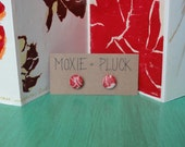 1/2 Inch Fabric Covered Button Earrings - Upcycled - Red Leaves